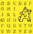 black set of letters of the English alphabet vector image