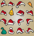 set of red santa hats and clothing and christmas vector image vector image