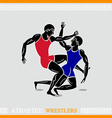 Athlete wrestlers vector image vector image