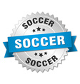 soccer 3d silver badge with blue ribbon vector image