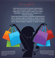 Background with girl silhouette and shopping bags vector image