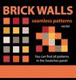 brick walls seamless patterns vector image