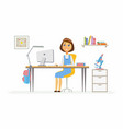 online education - of girl student at vector image