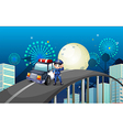 A policeman and his patrol car in the middle of vector image vector image