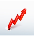 3d rising red arrow vector image