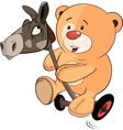 A stuffed toy bear cub and a wooden horse cartoon vector image vector image