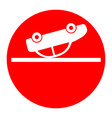 crashed car sign white icon in red circle vector image
