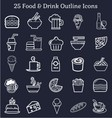 Food Drink Outline Icons vector image