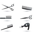 Hair accessories icons and elements vector image