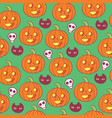 halloween pattern woth skulls pumpkins and black vector image