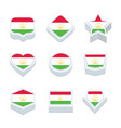 tajikistan flags icons and button set nine styles vector image