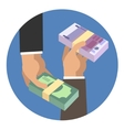 Hands holding money vector image vector image