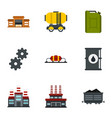 oil and petrol icons set flat style vector image
