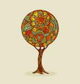 tree mandala art in traditional ethnic boho style vector image