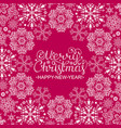christmas card with white snowflakes vector image