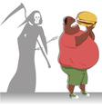 Danger of overeating vector image