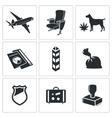 Drug trafficking icon set vector image