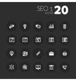 Thin SEO 1 icons on dark gray vector image