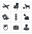 Drug trafficking icon set vector image