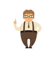 fat smiling nerd standing with index finger up vector image