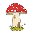house for gnomes fly agaric mushrooms vector image