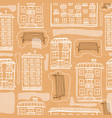 seamless pattern of hand drawn houses and benches vector image