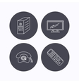TV remote retro phone and TV remote icons vector image