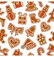 Christmas gingerbread with icing seamless pattern vector image