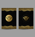 set of banners with stylized golden and black lion vector image