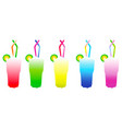 glasses with cocktail drinks vector image