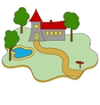 Building castle flat icon on white vector image