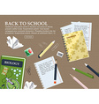 Composition back to school with schoolbook vector image