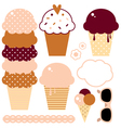 Cute beautiful ice cream set isolated on white vector image