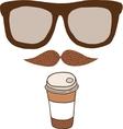 Cute cartoon doodle coffee cup vector image