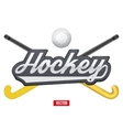 Hockey field tag with ball and sticks vector image