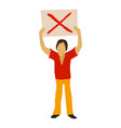man protest with sign icon cartoon style vector image