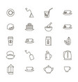 tea related black thin line icon set vector image