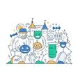 Halloween - line flat design card vector image