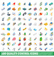 100 quality control icons set isometric 3d style vector image