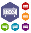 alarm clock icons set hexagon vector image