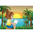 A girl using her laptop near the river vector image vector image