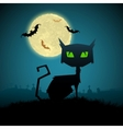 Black Cat in Halloween Night vector image vector image