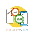Transferring money via chat vector image