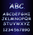 alphabet with shine stars vector image