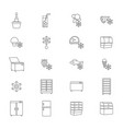 fridge signs black thin line icon set vector image