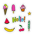 set of patches with food vector image