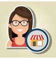 woman store market icon vector image