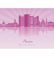 Boston skyline in purple radiant orchid in vector image