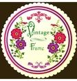 Retro floral round label vector image