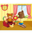 A child arranging her toys inside the house vector image vector image